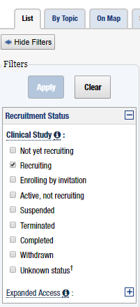 Clinicaltrials.gov Recruiting Patients