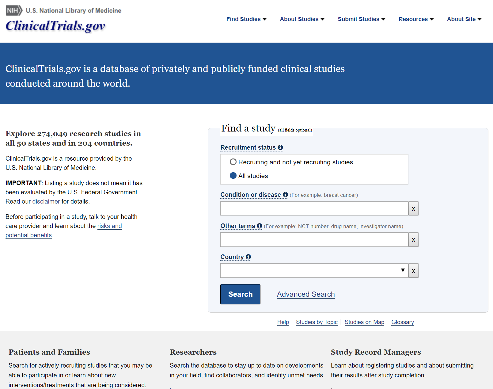 Clinicaltrials.gov Search