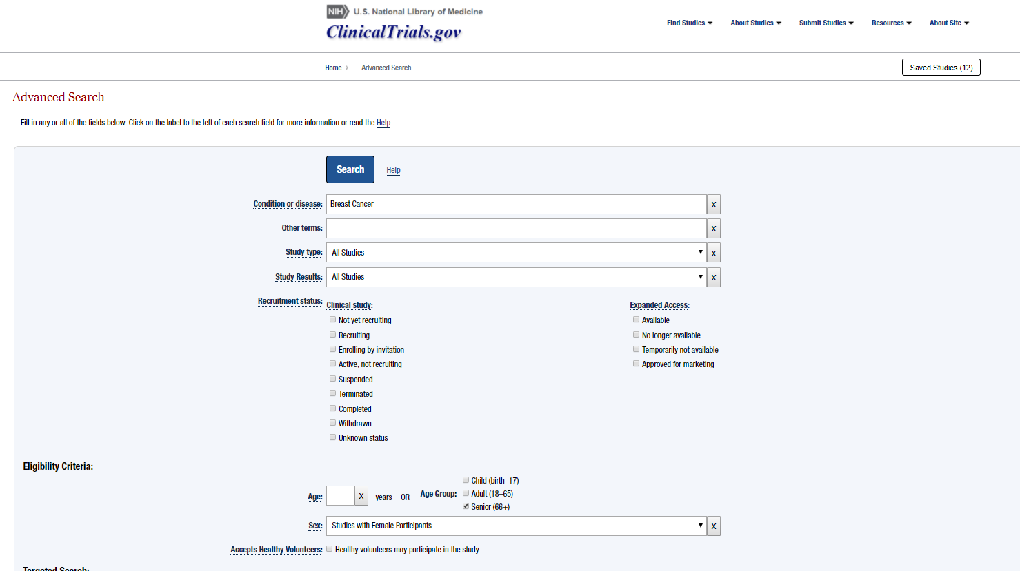 Clinicaltrials.gov Advanced Search